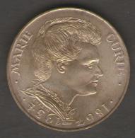 FRANCIA 100 FRANCS 1984 MARIE CURE AG SILVER - Commemorative