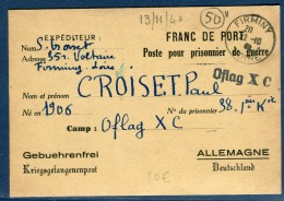 France - Carte En Franchise Pour Un Camp De Prisonnier En  Allemagne En 1940  Voir 2 Scans - Réf. S 113 - Guerre De 1939-45
