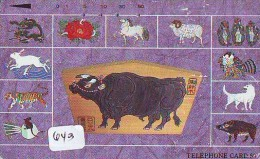 Télécarte JAPON ZODIAQUE * VACHE * TK STERNZEICHEN COW * KOE (643) HOROSCOPE * PHONECARD - Zodiac