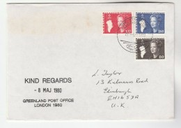 1980 GREENLAND Post Office At LONDON 1980 PHILATELIC  EXHIBITION COVER Aviation Helicopter Pmk Stamps - Greenland