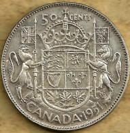 CANADA 50 CENTS SHIELD FRONT KGVI HEAD BACK 1951 AG SILVER  VF KM45 READ DESCRIPTION CAREFULLY !!! - Canada