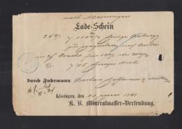 Bayern KB Mineralwasser-Versendung Ladeschein Kissingen 1868 - Bayern