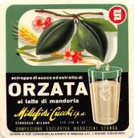 """06275 """"SCIROPPO DI SUCCO ED ESTRATTO DI ORZATA - MILLEFIORI CUCCHI S.P.A. - CERNUSCO (MI)"""" ETICH. ORIG. - ORIG. LABEL - Etichette"""