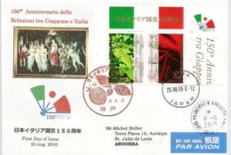 JAPON-ITALIE, Emission Conjointe  Giappone-Italia, Adressée ANDORRA, Avec Timbre à Date Arrivée - Joint Issues