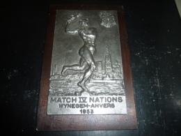 SUPERBE PLAQUE EN FER SUR BOIS SPORT AVIRON MATCH IV NATIONS WYNEGEM-ANVERS 1953 - AVIRON SPORT - Remo