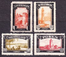 DEUTSCHES REICH 1920,  MH LABELS - LOST TERRITORIES : MEMELLAND, LOTHRINGEN, SCHLESWIG, POSEN. Condition, See The Scans. - Germany