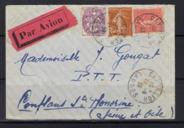 Capbreton (Landes) : Enveloppe Par Avion,  21 Août 1930, Au Verso Cachet Bleu Paris Gare Du Nord Avion. - Marcophilie (Lettres)