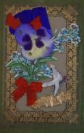 Carte Cellulo Découpis Collée Colombe, Fleurs Et Pensée En Soie, Ruban, Guirlande Dorée - Bonne Année - Nouvel An