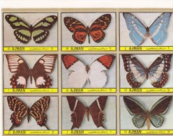 Ajman 1972, Butterflies 9 Stamps In Sheetlet Complete Set MNH-scarce- Reduced Price - Ajman