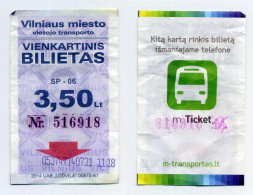 Ticket De Bus - Vilnius (Lituanie, Lithuania) - 3,50 Lt. (avant Le Passage à L´euro). Logo Bus Au Verso - Bus