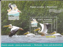 # T 120  PELICAN, ANIMALS, WATERLANDS, 2015, MNH** , MINISHEET, ROMANIA - 1948-.... Républiques