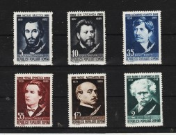 1957 -   Ecrivains Mi No 1701/1705 + 1716 Et Yv No 1565/1569A - 1948-.... Republiken