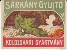 REITTER JOZSEF-CLUJ NAPOCA MATCHES FACTORY, MATCHBOX LABEL, DRAGON, BEFORE 1931, ROMANIA - Publicités