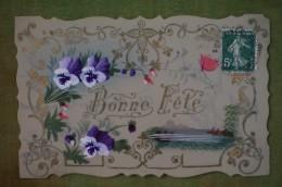 Carte Cellulo Peinte - Bonne Fête - Bordure Découpée, Guirlande Dorée - Auguri - Feste