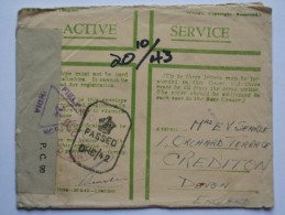 GB ON ACTIVE SERVICE COVER WITH INDIA FIELD TRIANGLE AND ADVANCE BASE POSTMARK TAKING OVER 3 MONTHS TO GET DELIVERED - Brieven En Documenten