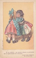 US Italy Children Embrace American Red Cross Aid To Sicily Artist Image, C1900s Vintage Postcard - Red Cross