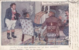 Mareland Artist Signed 'East West Names Best' John Bull Fireside Sits In Corner, Uncle Sam, C1900s Vintage Postcard - Satirical