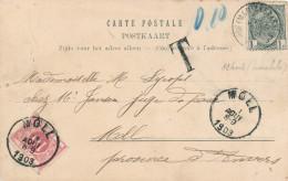 644/24 - Carte-Vue Ostende TP Armoiries 1 C MARIAKERKE 1903 - Taxée 10 C à MOLL - Postage Due