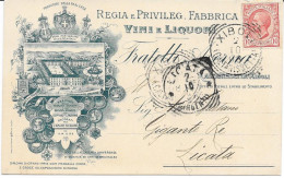 1908 TONDO RIQUADRATO XIBOLI CALTANISSETTA SU TESTATINA REGIA FABBRICA VINI E LIQUORI - 1900-44 Vittorio Emanuele III