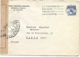 CTN35/3 - SUISSE LETTRE GENEVE / PARIS 1/5/1940 (?) CENSURE - Lettres & Documents