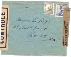 CTN35/3 - ESPAGNE LETTRE BARCELONA / PARIS JUILLET 1945 CENSURE - 1931-50 Lettres