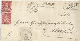 Chargé Brief  Sursee - Willisau           1869 - 1862-1881 Helvetia Seduta (dentellati)