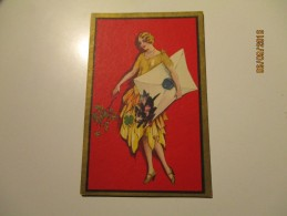 Art Deco  LADY WITH DOG INSIDE THE COVER   , OLD  POSTCARD ,0 - Illustratori & Fotografie