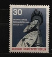 Allemagne Berlin 1971 N° 367 ** Radio, Radiodiffusion, Onde, Parabole, Berlin-Wannsee, Télévision, Tour, Restaurant, TV - [5] Berlin