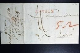 Complete Brief 1820 Arnhem Gekapt Naar Norden Duitsland - Nederland