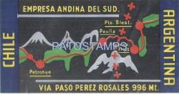 56798 ARGENTINA CHILE EMPRESA ANDINA DEL SUD LUGGAGE NO POSTAL POSTCARD - Hotelaufkleber