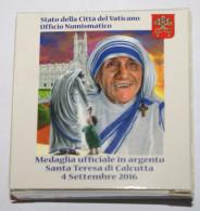 VATICANO - 2016, CANONIZZAZIONE MADRE TERESA DI CALCUTTA,   OFFICIAL SILVER MEDAL - Jetons & Médailles