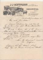 """Boemia - Karolinenthal -  Lettera Della Ditta """" J.J. Hoffmann """" Datata 11.10.1905 - (BPLAST7) - Fatture & Documenti Commerciali"""