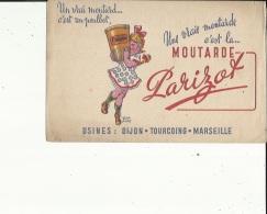 Buvard G F_21 X 13- De ( Ets PARIZOT Moutarde -Usines A Dijon_Tourcoing-_Marseille...Voir San - Mostard