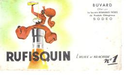 RUFISQUIN   BUVARD OFFERT PAR LA SOCIETE DESMARAIS FRERES DE PRODUITS OLEAGINEUX  SODEO  L´HUILE D´ARACHIDE N°1 - Buvards, Protège-cahiers Illustrés