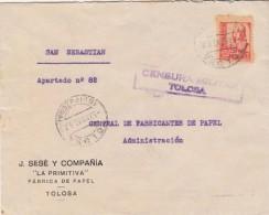 España 1937. Carta De Tolosa A San Sebastian. Censura. - Marcas De Censura Nacional