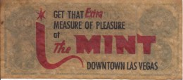 Promotional Paper Confederate Bill From The Mint Casino In Las Vegas, NV - Casino Cards