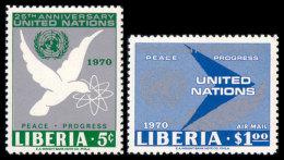 Liberia, 1970, United Nations, 25th Anniversary, MNH, Michel 737-738 - Liberia