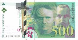 FRANCE 500 FRANCS 1994 P-160a AU+/UNC SER: B 021016501  [ FR160 ] - 1992-2000 Laatste Reeks