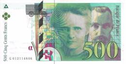 FRANCE 500 FRANCS 1994 P-160a AU/UNC SER: G 012114846  [ FR160 ] - 500 F 1994-2000 ''Pierre En Marie Curie''