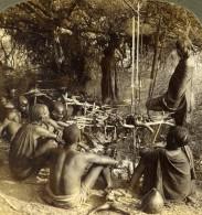 Afrique De L'Est Kenya Taveta Le Repas Après La Chasse Ancienne Photo Stereoscope Underwood 1909 - Stereoscopic