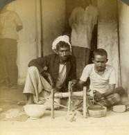 Ceylon Kandy Tailleurs De Pierre De Lune Moonstone Ancienne Photo Stereoscope Underwood 1903 - Stereoscopic