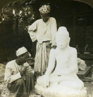 Birmanie Sculpteur De Marbre Bouddha Ancienne Photo Stereoscope HC White 1907 - Stereoscopic