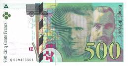 FRANCE 500 FRANCS 1994 P-160a UNC SER: Q 029455564  [ FR160 ] - 500 F 1994-2000 ''Pierre En Marie Curie''