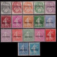 ANDORRA FR. 1931 - Scott# 1-17 Sower Opt. Set Of 17 LH - Andorre Français