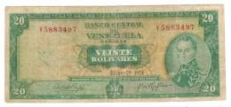 Venezuela 20 Bs. 1974, F. Rare. Free Ship. To USA. - Venezuela
