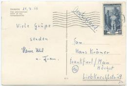 1956 LAVORO L. 15 SU CARTOLINA PER GERMANIA 11.7.56 SPLENDIDA QUALITÀ (6901) - 6. 1946-.. Repubblica