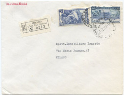 1957 RISPARMIO L. 25 + LAVORO L. 55 BUSTA RACC. 27.2.57 BELLA AFFRANCATURA MONOCROMA BLU (6900) - 6. 1946-.. Repubblica