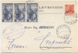 1954 LAVORO L. 1 STRISCIA DI 3 + SIRACUSANA L. 10 CARTOLINA TARIFFA RIDOTTA SINDACI 9.7.54 – OTTIMA QUALITÀ (6897) - 6. 1946-.. Repubblica