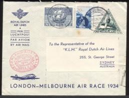 SALE 1934 Flight Cover Gravenhage Nederlands To Sydney Australia KLM MacRobertson Race - Period 1891-1948 (Wilhelmina)