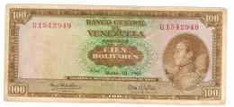 Venezuela 100 Bs. 1969, VF. Rare. Free Ship. To USA. - Venezuela